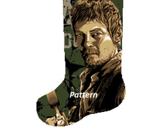 Daryl Walking Dead Christmas Stocking. Cross Stitch Kit.