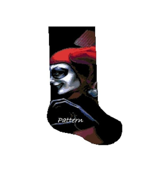 Harley Quinn Christmas.Harley Quinn Christmas Stocking Cross Stitch Kit