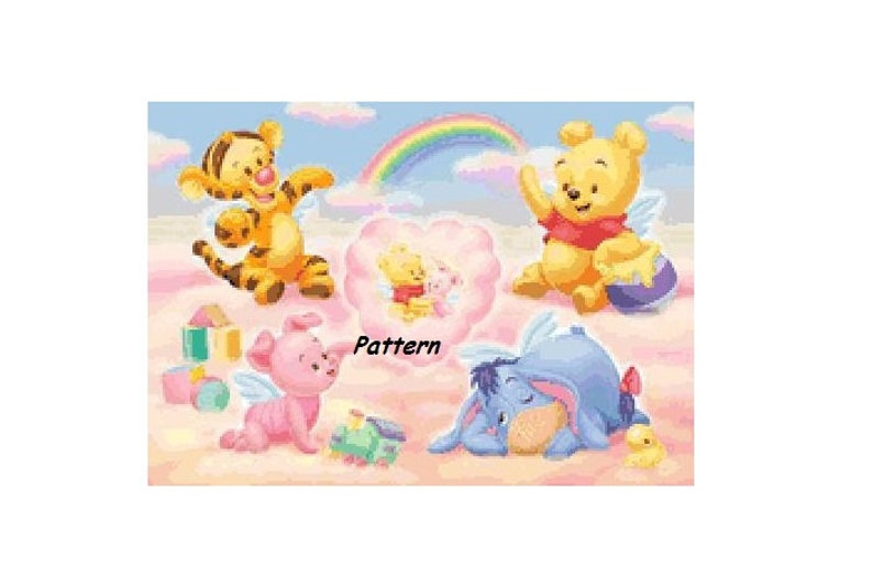 Cross Stitch Pattern PDF Files. Baby Winnie the Pooh and friends