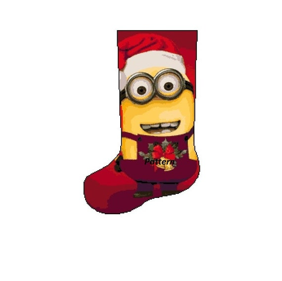 Minions Christmas.Minions Christmas Stocking Cross Stitch Pattern