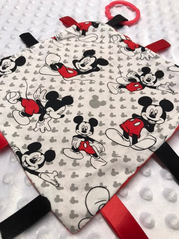 Taggy Comforter In Mickey Mouse Print Fabric Cute ! Handmade Taggy Blanket
