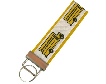 Personalized Fabric Key Chain   Key Fob School Bus with Optional Initials c18823af1