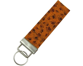 Personalized Key Chain / Key Fob Brown Paw Prints With Optional Initials