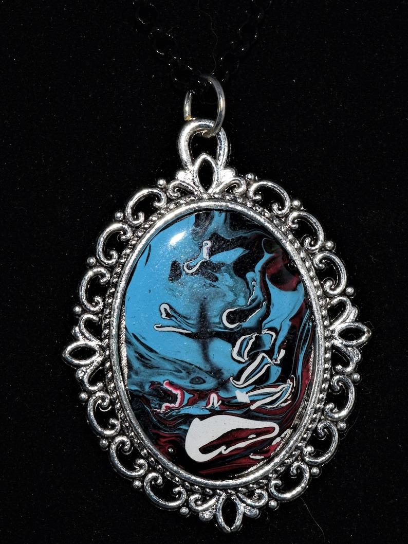 Blue Cobbler Swirl Poured Paint Pendant