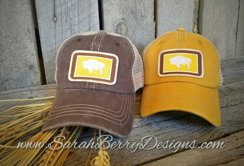 Wyoming State Flag Patch Hat - Wyoming Buffalo - Bison - Brown and Gold -  Wyo - WY - 307 - Cowboy State - Distressed Hat - Baseball Cap
