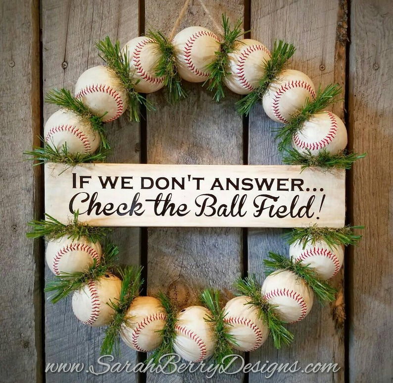 Baseball Wreath With Grass Front Door Wreath Baseball Etsy