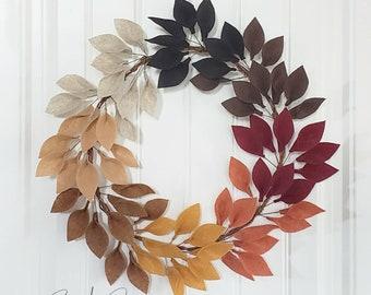 Fall Felt Leaf Wreath - Front Door Wreaths - Handmade - Sarah Berry & Company - Wool Felt - Felt Leaves - Fall Decor - Minimalist Wreaths