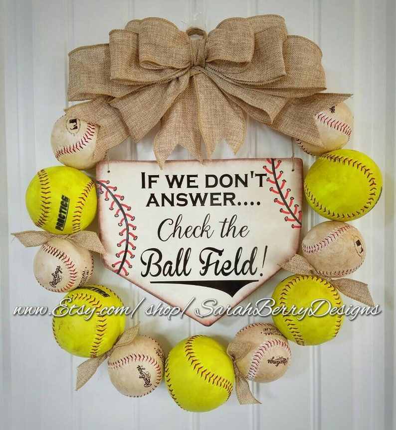 Baseball Wreath Softball Wreath With Burlap Bow Home Base Etsy