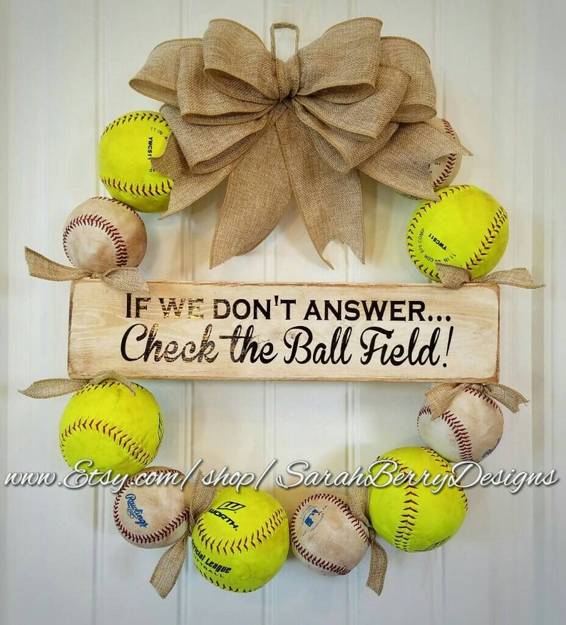 Softball And Baseball Wreath With Burlap Bow Made With Real Etsy