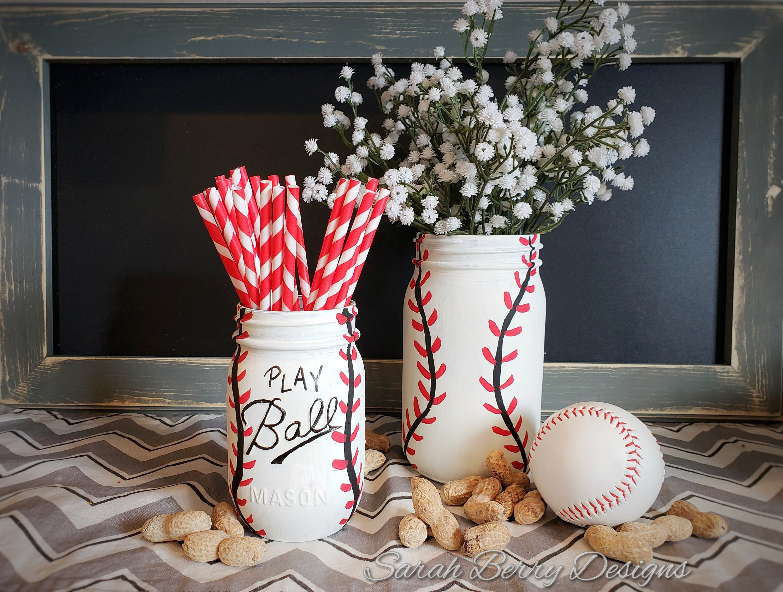 Baseball Centerpiece   Mason Jar Party Decor Instant Download  Baseball  Party   Sarah Berry Designs   Sports Decor   DIY Tutorial