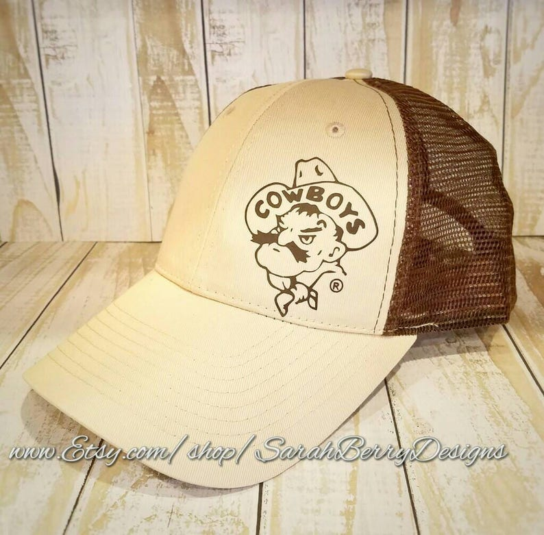 Wyoming Cowboys Trucker Style Hat -University of Wyoming - 307 - Brown and  Gold- Pistol Pete - UW - Go Pokes - Steamboat - Mesh Back Hat