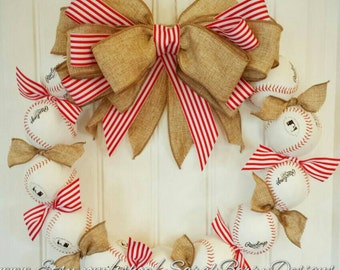 Baseball Wreath - Perfect baseball decor for the avid fan!! Made with REAL baseballs!!! Coach's Gifts- MLB- Softball- Baseball Team
