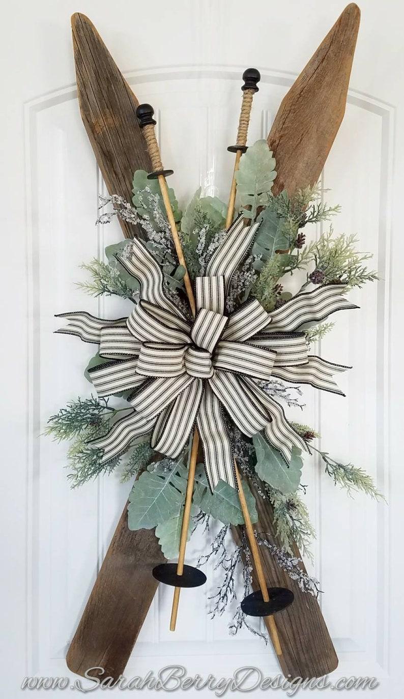 Winter Decor Rustic Farmhouse Decor Vintage Inspired Ski Door Hanger- Front Door Wreath- Christmas Wreath Holiday Wreath Skis