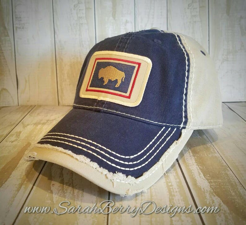 Wyoming State Flag Patch Hat - Wyoming Buffalo - Bison - Red White and Blue  - Wyo - WY - 307 - Cowboy State - Distressed Hat - Baseball Cap
