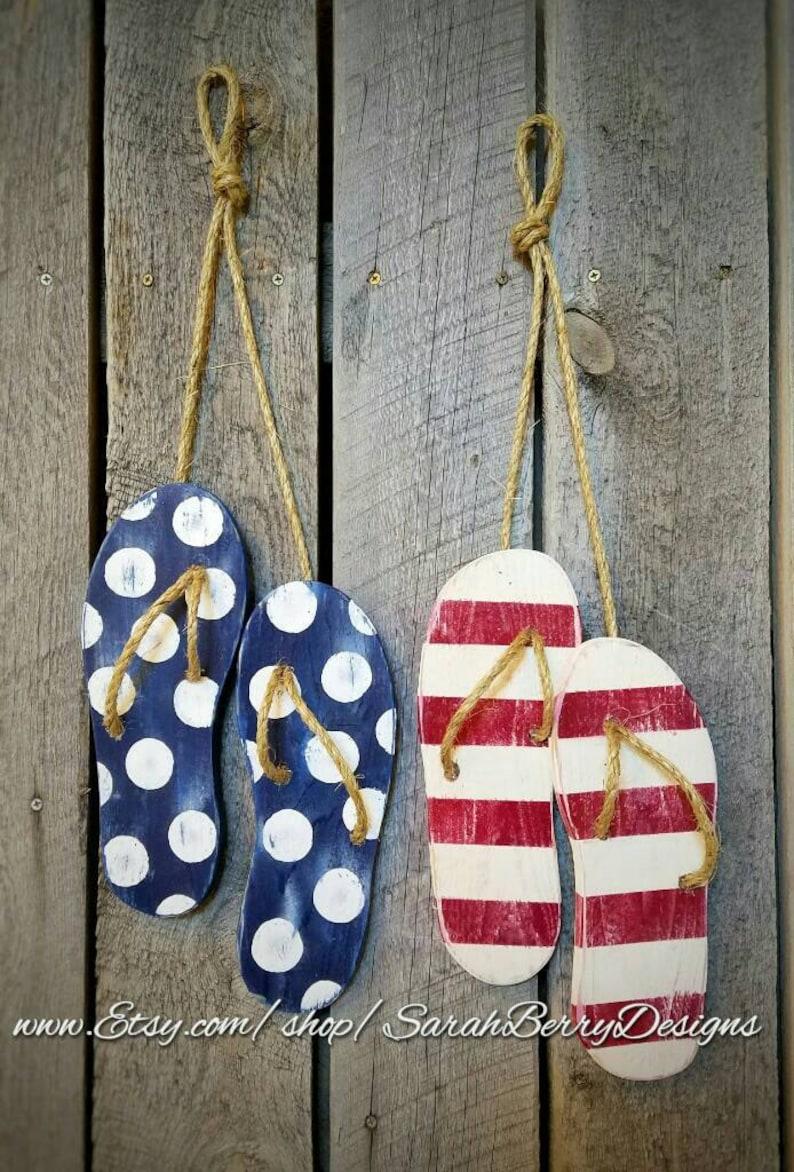 02f9ae227441 Flip Flop Decor American Flag Wooden Flip Flops Summer