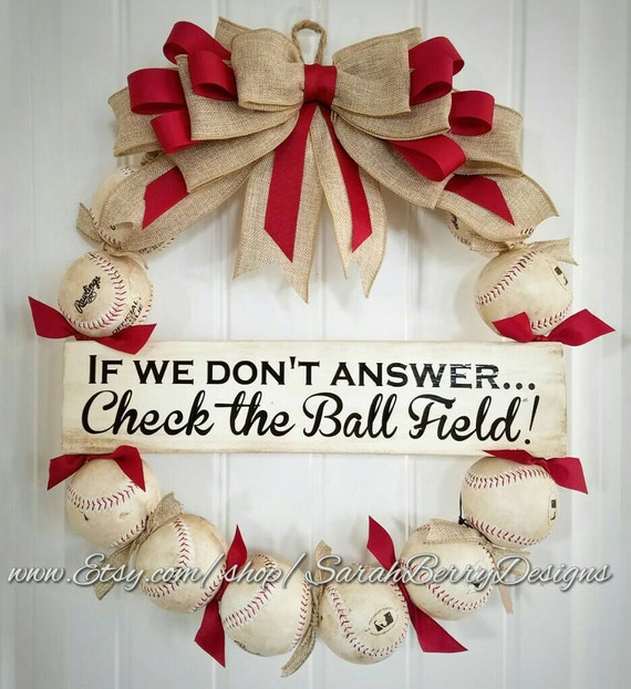 Baseball Wreath with Navy and White striped ribbon and burlap bow Softball and Baseball decor Coach/'s Gifts Made with REAL baseballs!!