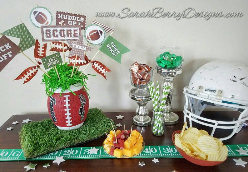 Football Vase  Football Centerpiece Super Bowl Decorations image 0