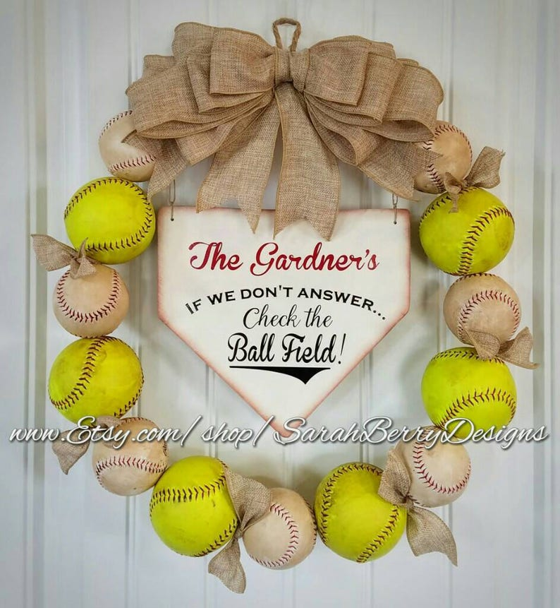 Baseball And Softball Wreath With Burlap Bow Made With Real Etsy