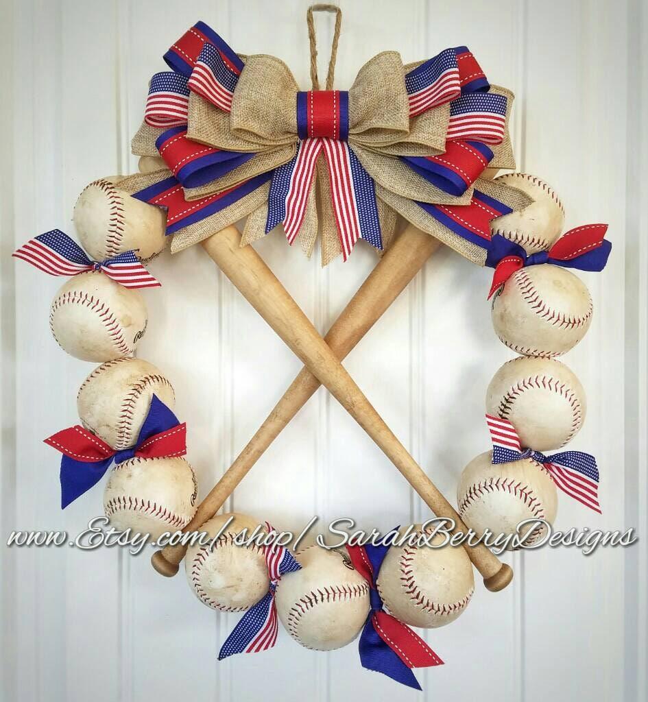 Baseball Bat Wreath Made With Real Baseballs Softball And