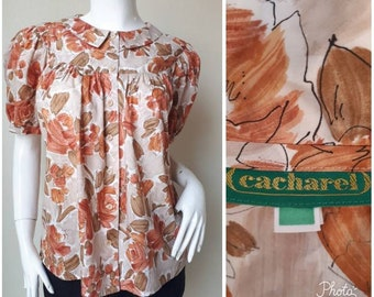 Womens 3//4 Flared Sleeve Baroque Scarf Print Blouse Ladies Baggy Bell Midi Top