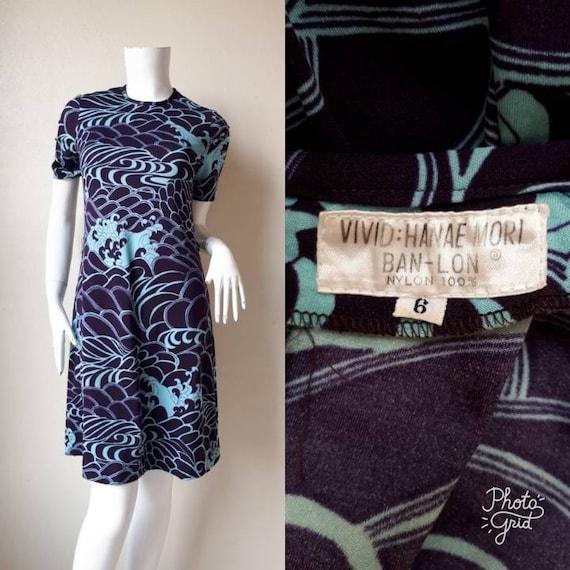 Vintage HANAE MORI Rayon Print Dress Size 6 XS