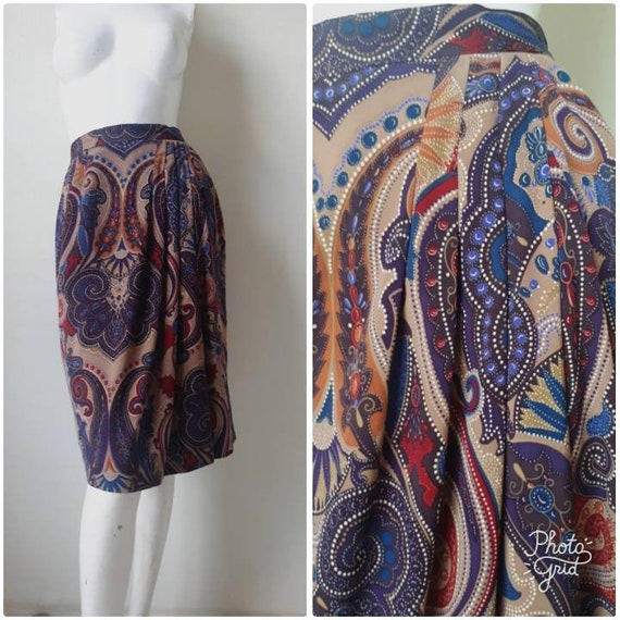 Vintage Japanese psychedelic Print Skirt Size 9 Me