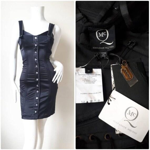 Alexander Mqueen Black Body Con Stretch Dress Size