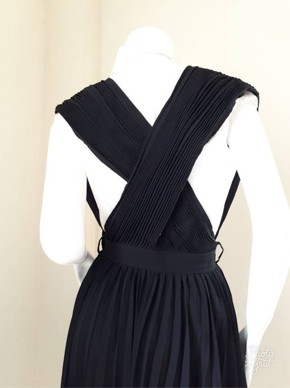 Vintage COMME des GARCONS Black Wool pleated dung… - image 4