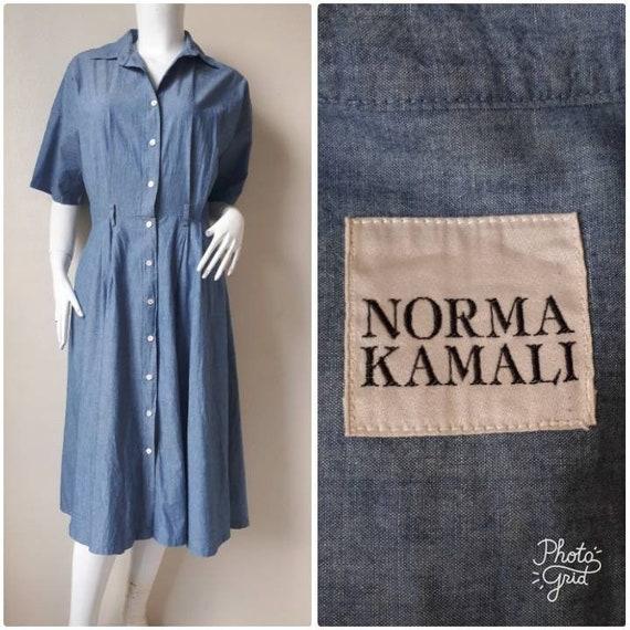Vintage 1980s Norma Kamali Shirt Dress Size Medium