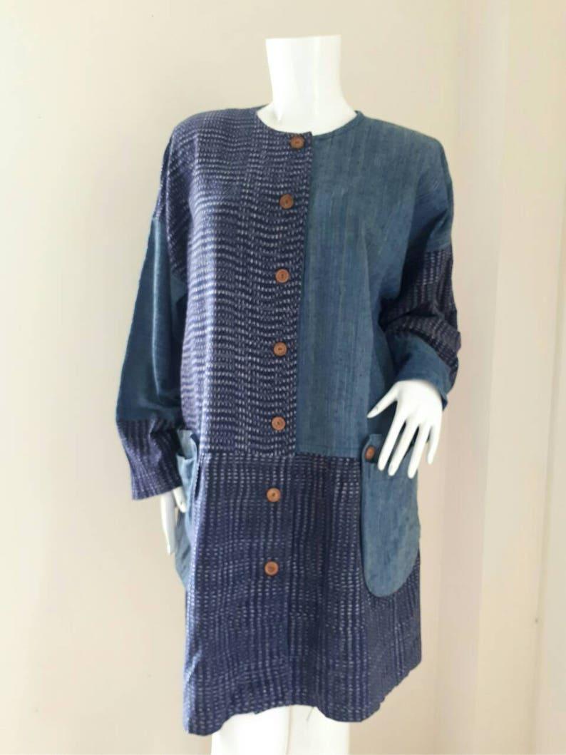 Antique Japanese Boro Indigo Dye Jacket Vintage Cotton Hanten Workwear Jacket Noragi Tattered Japan