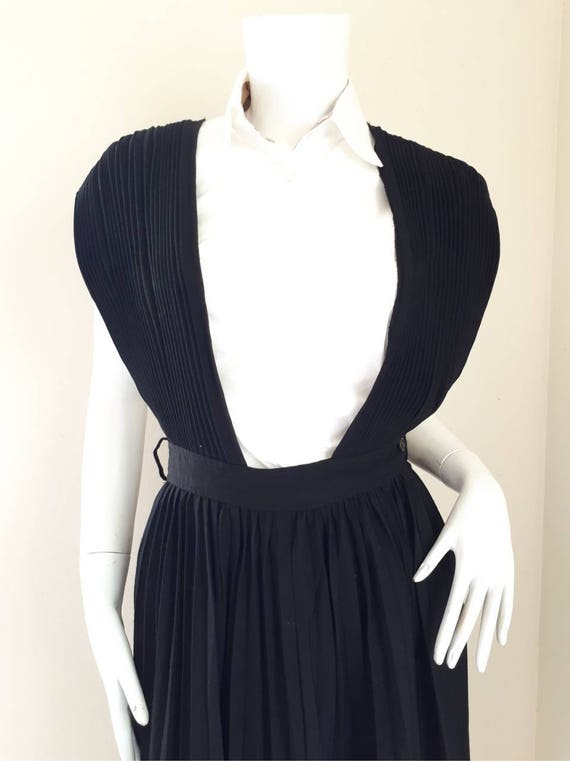 Vintage COMME des GARCONS Black Wool pleated dung… - image 2