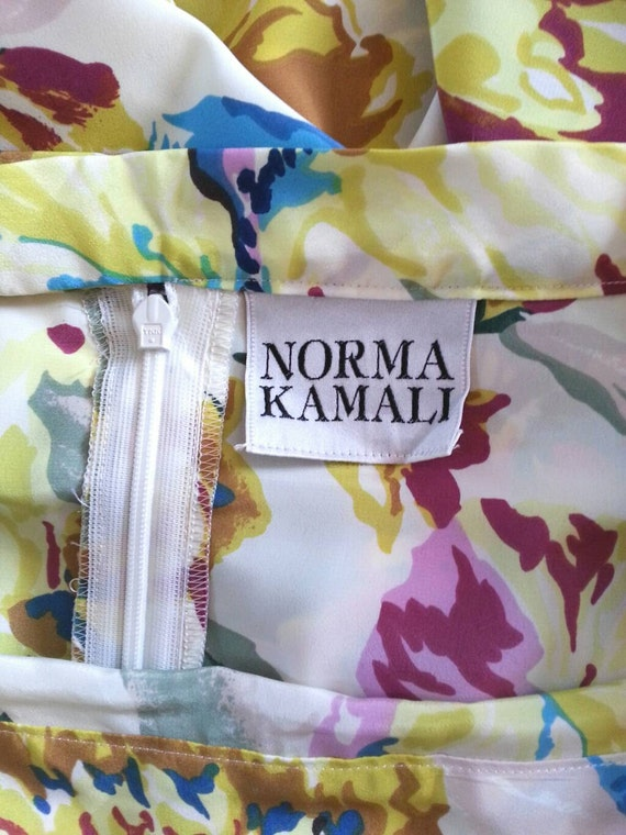 Norma Kamali Skirt - Vintage 80s White Floral Pri… - image 4