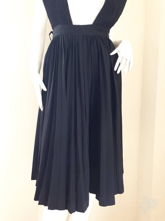 Vintage COMME des GARCONS Black Wool pleated dung… - image 3