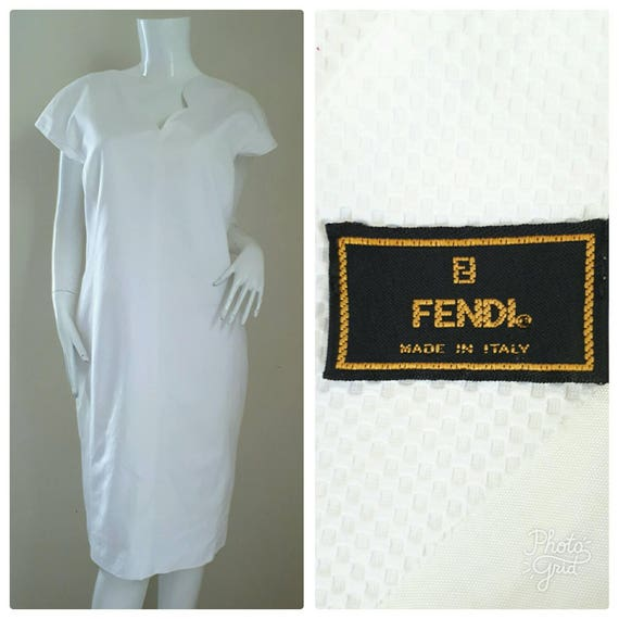 f473678d541d FENDI White Cotton dress    Cotton dress Size 46