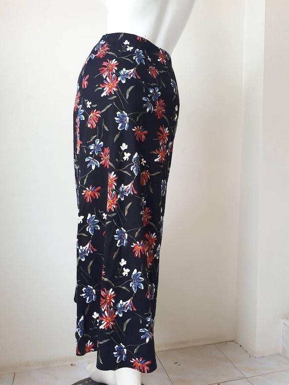Norma Kamali Skirt - Vintage 80s Black Floral Pri… - image 7
