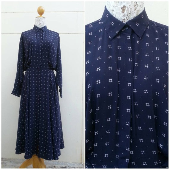 Vintage 1980s Norma Kamali Shirt dress / Silk shir