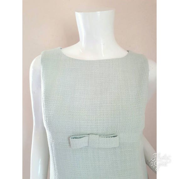 Vintage Balenciaga Pastel Mint Green Mini Dress /
