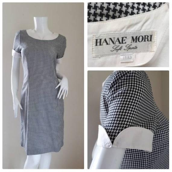 Vintage HANAE MORI Black and White Dress Size 11A3