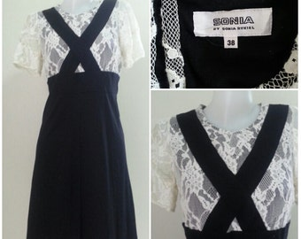Sonia Rykiel White Lace and Black Cotton Dress Size 38 S - M