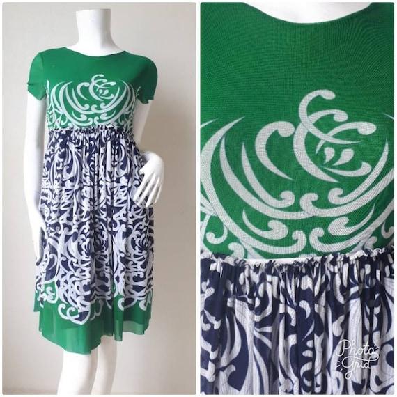 Vintage 90s Mesh Mandarin Dress by Vivienne Tam Si