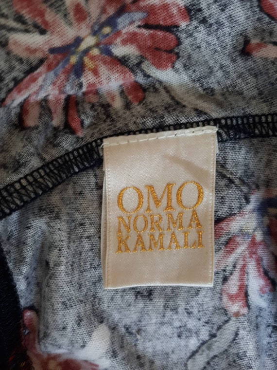 Norma Kamali Skirt - Vintage 80s Black Floral Pri… - image 4