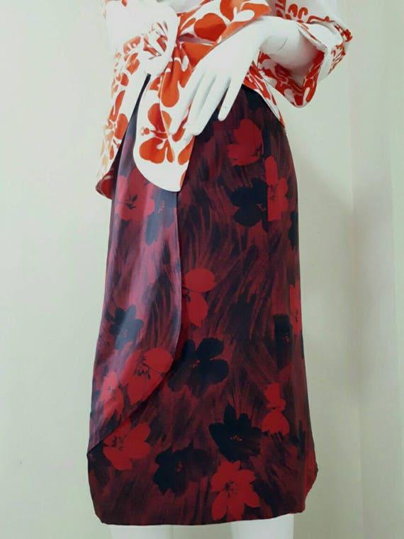 Vintage Japanese Floral Print Skirt Size 9 Medium