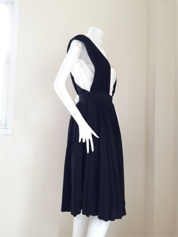 Vintage COMME des GARCONS Black Wool pleated dung… - image 5