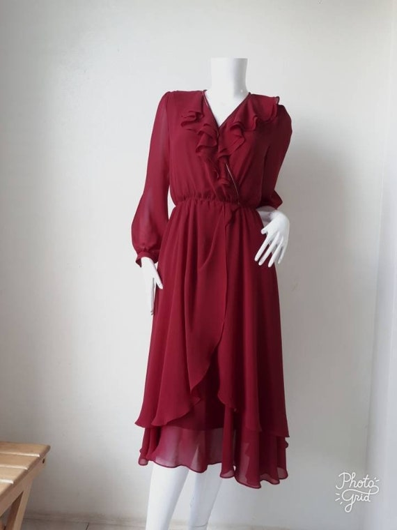Vintage Japanese day dress, Chiffon Dress/ Size Sm