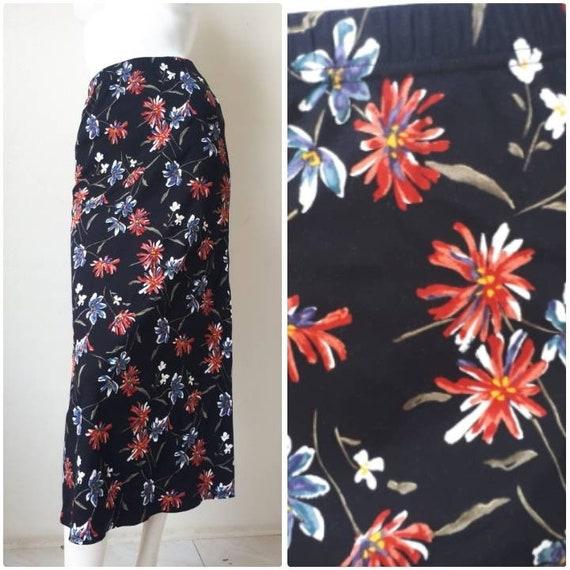 Norma Kamali Skirt - Vintage 80s Black Floral Prin