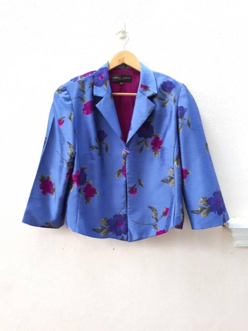 Vintage Donna Ricco Blue Silk Shirt  Womens Jacket Size 12