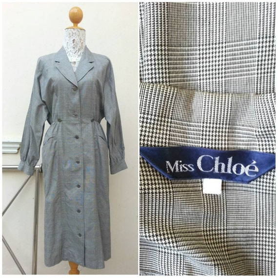 Vintage Miss Chloe check plaid  Black and White sh