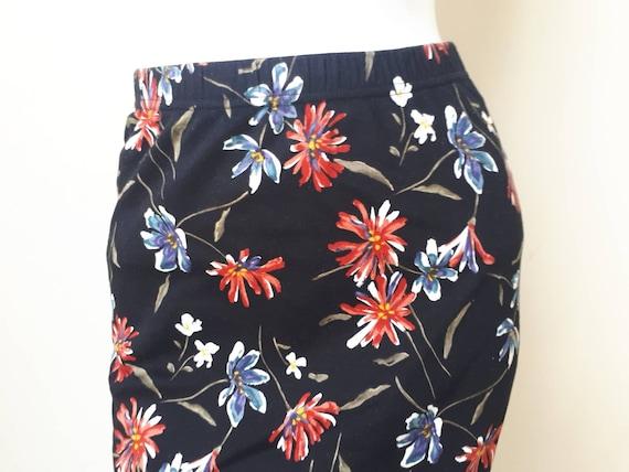 Norma Kamali Skirt - Vintage 80s Black Floral Pri… - image 3