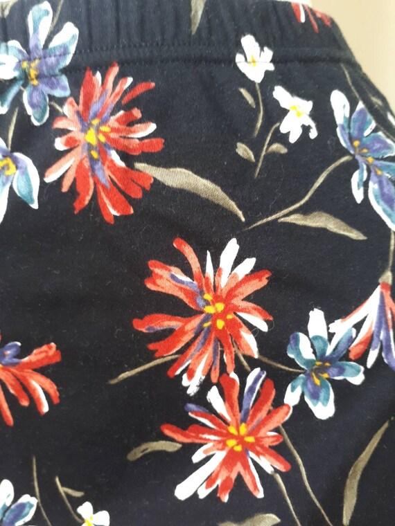 Norma Kamali Skirt - Vintage 80s Black Floral Pri… - image 8