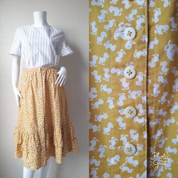 Vintage Button Down Print Skirt, Front Pockets Ski